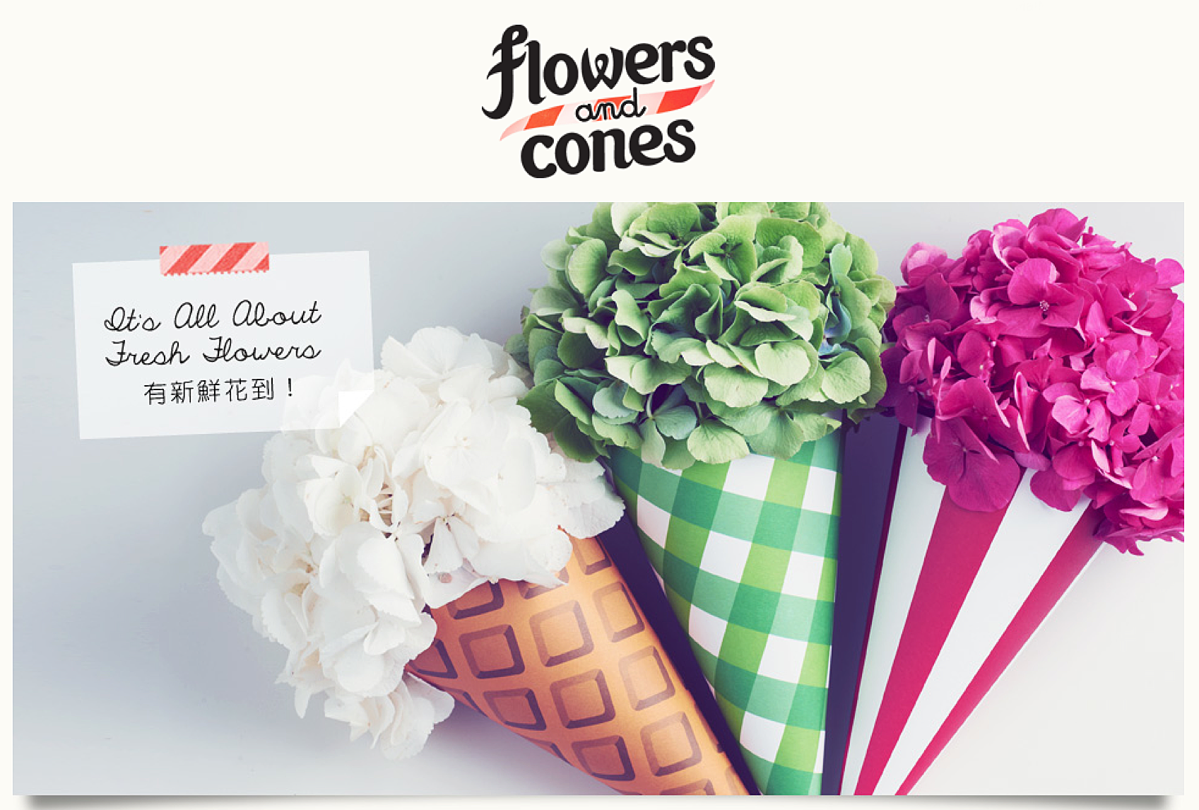 Flowers cones advertisement